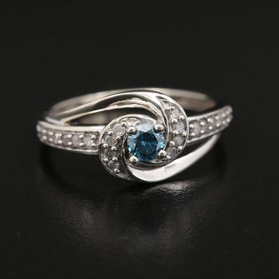 10K Gold Diamond Ring with Blue Diamond Center