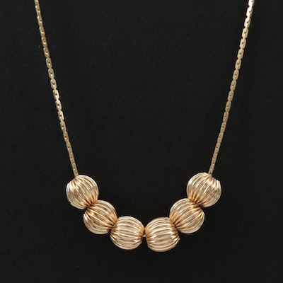 14K Gold Fluted Bead Necklace