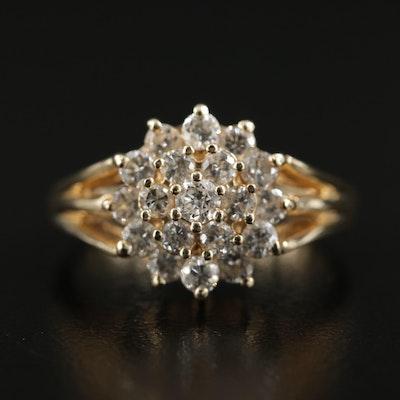 14K Gold 1.00 CTW Diamond Cluster Ring