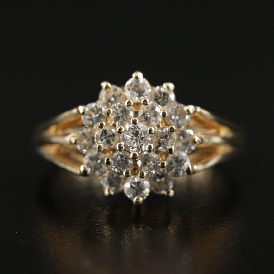 14K Gold 1.00 CTW Diamond Cluster Ring