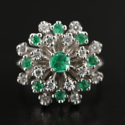 14K Gold Emerald and Diamond Cluster Ring