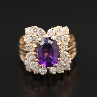 14K Gold Amethyst and 1.32 CTW Diamond Ring