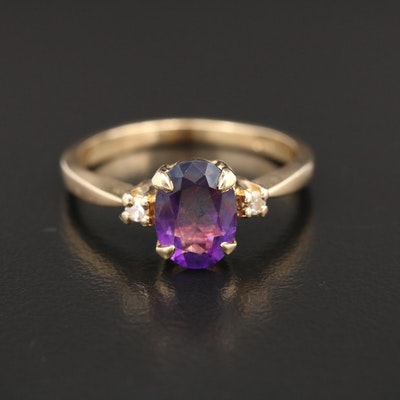 14K Gold Amethyst and Diamond Ring
