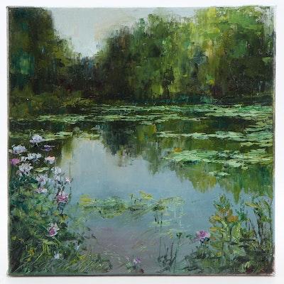"Garncarek Aleksander Oil Painting ""Staw"", 2020"