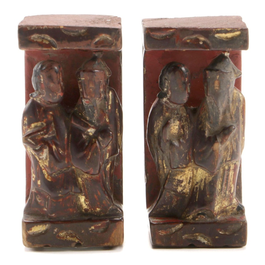 Chinese Pair of Carved Giltwood Figures