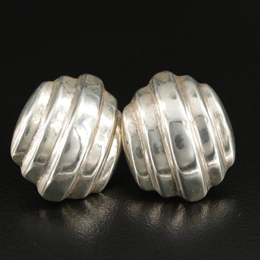 Sterling Silver Ridged Button Earrings