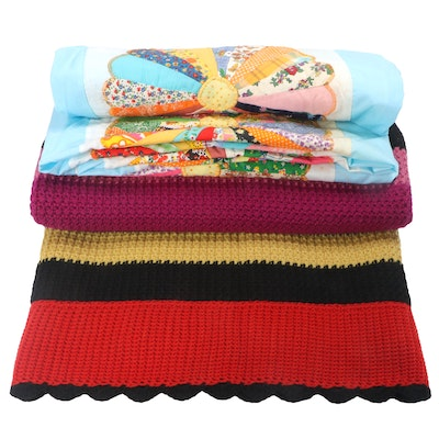 Hand-Appliquéd Cotton Unfinished Quilt and Crocheted Throw Blanket