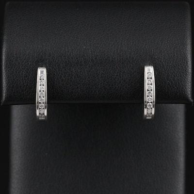 14K Gold Diamond Channel Hoop Earrings