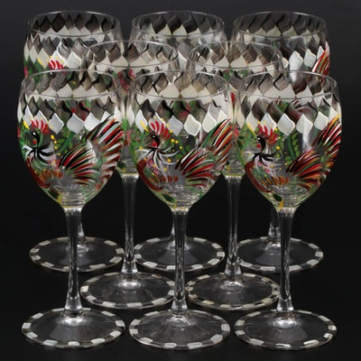 Luminarc Hand-Painted Rooster Wine Glasses, Mid to Late 20th Century