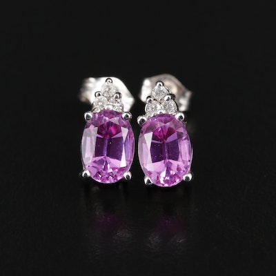 14K Gold Synthetic Sapphire Stud Earrings with Diamond Accents