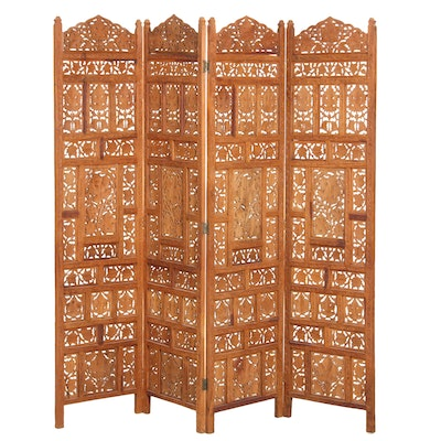 Indian Four-Panel Carved Foliate Pattern Wooden Room Divider
