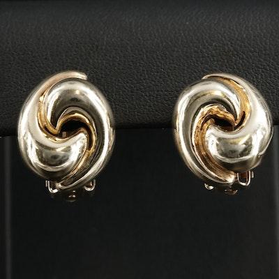 Sterling Silver Swirl Button Earrings