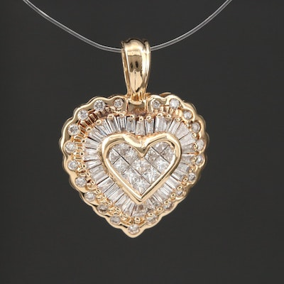 14K Gold 1.00 CTW Diamond Heart Pendant