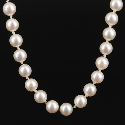 Hand Knotted Pearl Necklace with 14K Gold Clasp