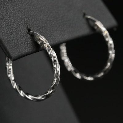 Sterling Silver Twisted Hoop Earrings