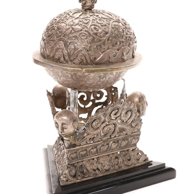 Tibetan Chased Silver Plate Kapala with Repoussé Vajra-Topped Lid and Stand