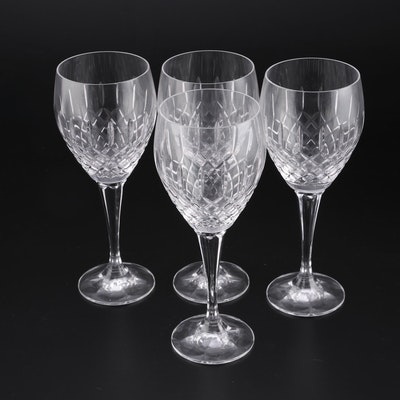 American Molded Crystal Water Goblets, Mid to Late 20th Century