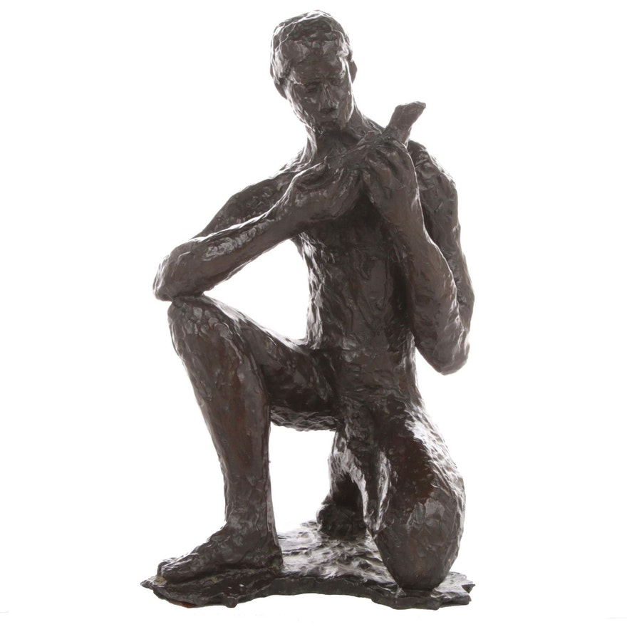 Modern Bronze Sculpture of Seated Male Figure with Bird