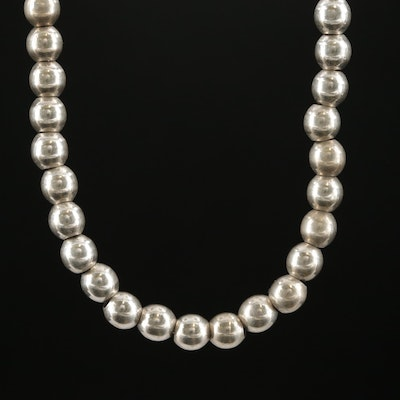 Sterling Silver Graduated Bead Necklace