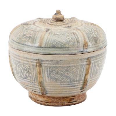 Thai Sawankhalok Ceramic Covered Bowl, 15th Century