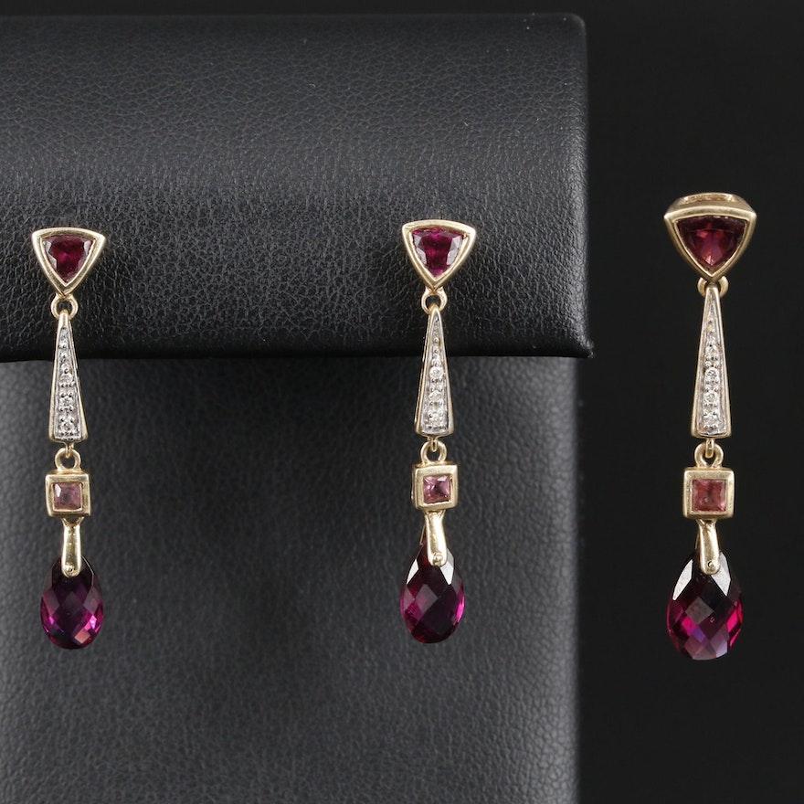 14K Gold Rhodolite Garnet and Diamond Pendant and Earring Set