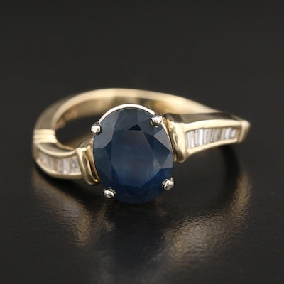 14K Gold 4.27 CT Sapphire and Diamond Ring