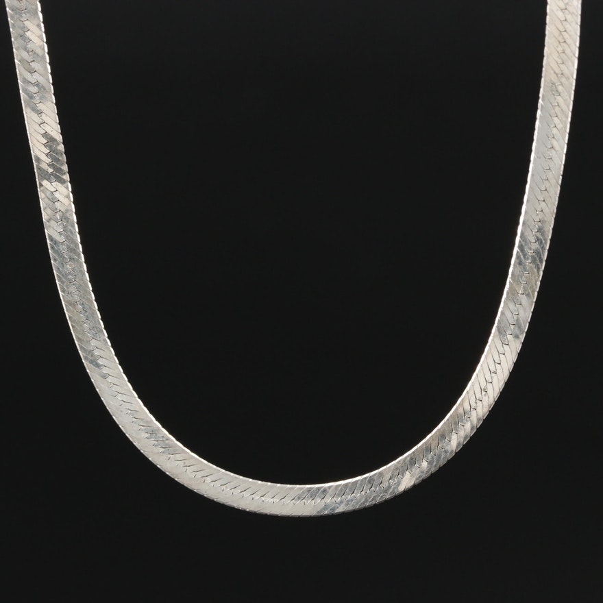 Sterling Silver Herringbone Chain Necklace