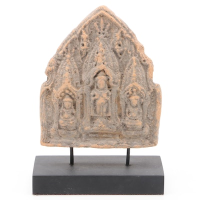 Thai Ceramic Buddha Triad on Wooden Stand