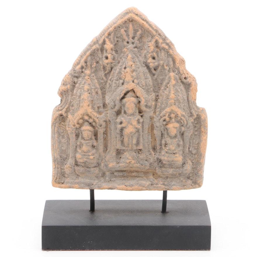 Thai Ceramic Buddha Triad on Wooden Stand
