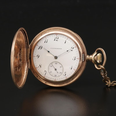 1918 Elgin For C.D. Peacock Gold Filled Hunting Case Pocket Watch With Chain Fob