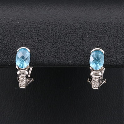 14K White Gold Blue Topaz and Diamond J Hoop Earrings