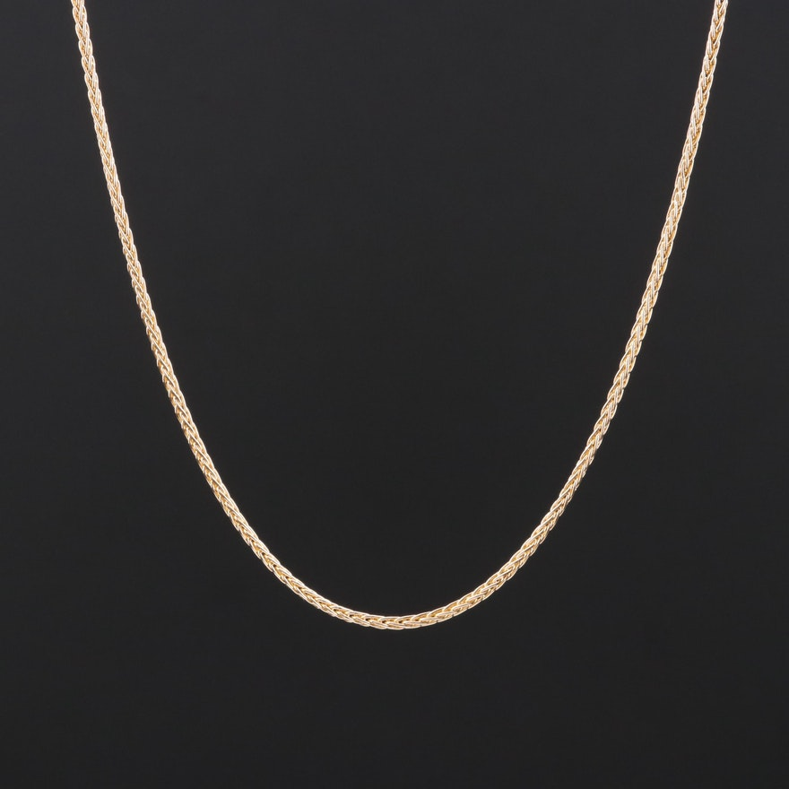 14K Yellow Gold Foxtail Chain Necklace