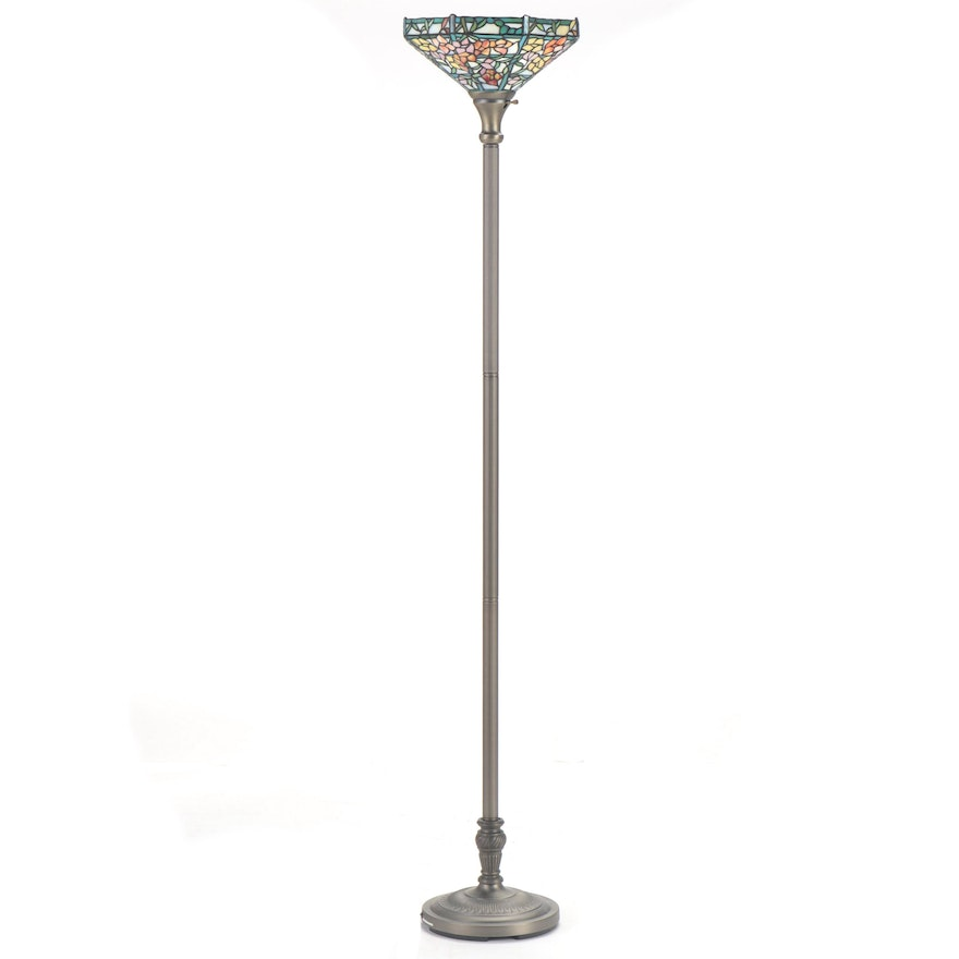Art Nouveau Style Stained Glass Torchiere Floor Lamp Late 20th