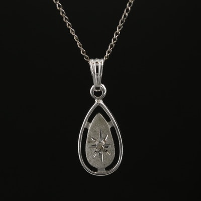 Sterling Silver Promotional Diamond Teardrop Necklace