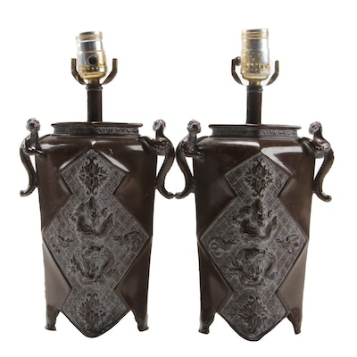 Pair of East Asian Archaistic Style Bronze Finish Table Lamps