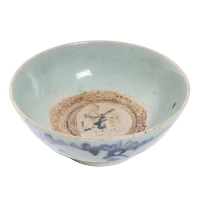 Chinese Porcelain Bowl with Blue Underglaze Motif, Ming Dynasty