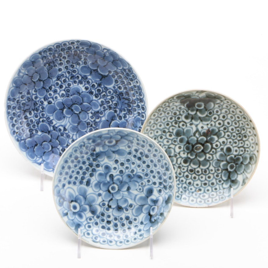 Blue and White Anamase Porcelain Plates, Ming Dynasty