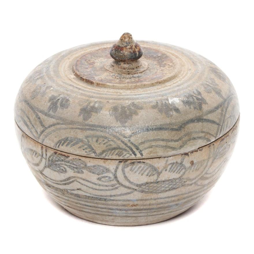 Thai Sawankhalok Ceramic Covered Jarlet, 15th Century