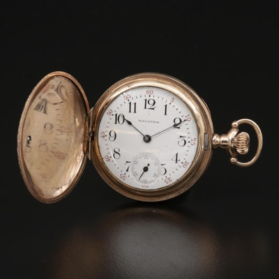 1903 Waltham Diamond Accented Gold Filled Hunting Case Pocket Watch