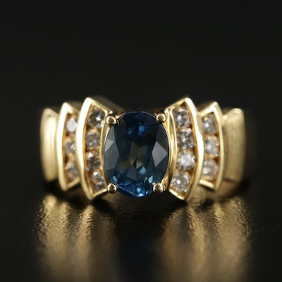 18K Gold 1.37 CT Sapphire and Diamond Stepped Shoulder Ring