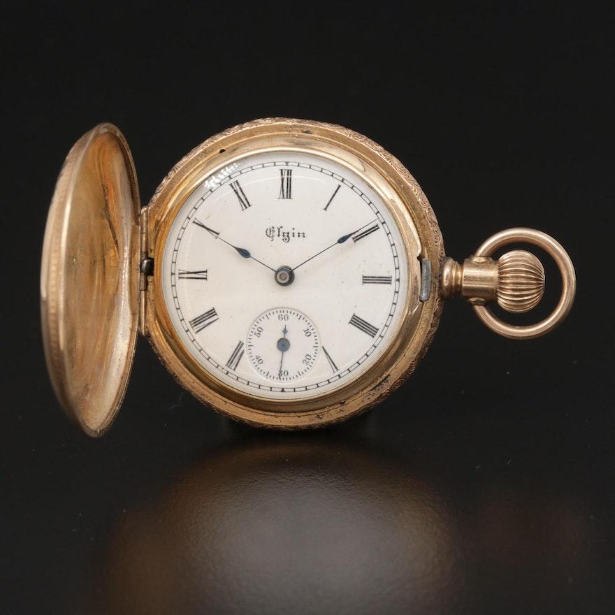 Elgin Gold Filled Engraved Hunting Case Pocket Watch, Antique