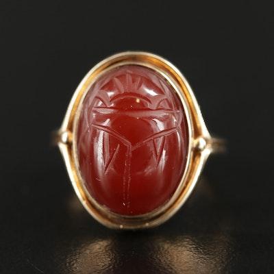 14K Gold Carnelian Scarab Ring