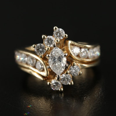 14K Gold 1.36 CTW Ring and Enhancer Set