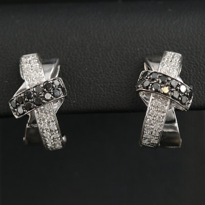 14K Gold 1.00 CTW Diamond Criss-Cross Earrings
