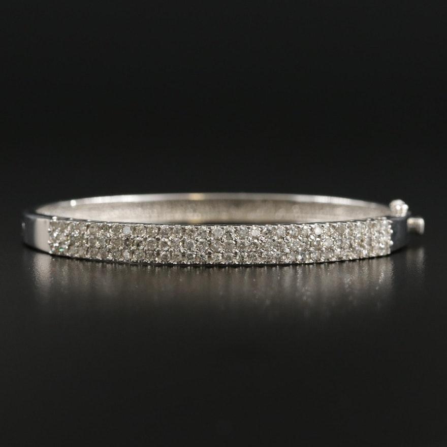 14K Gold 2.02 CTW Diamond Hinged Bracelet