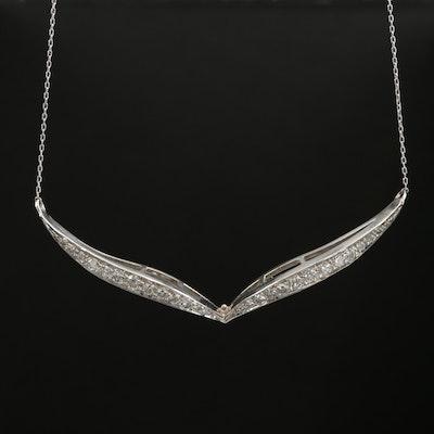 Platinum 1.00 CTW Diamond Chevron Necklace