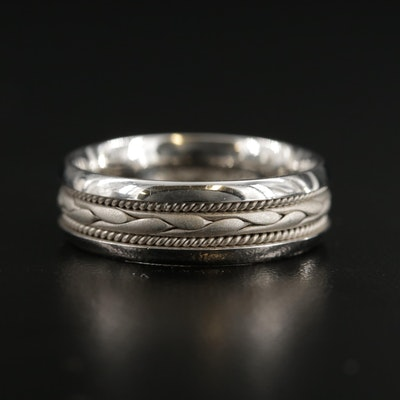 14K Gold Band with Braided Motif
