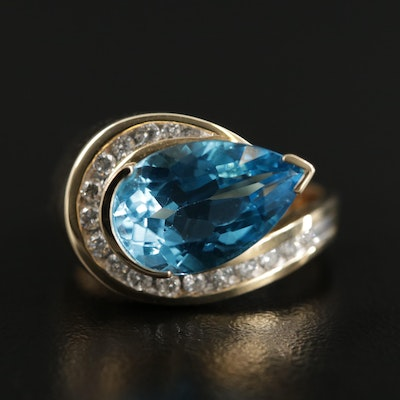 14K Gold 5.30 CT Blue Topaz and Diamond Ring