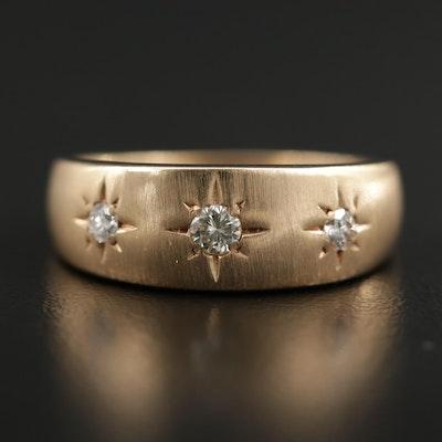 14K Gold Star Set Diamond Band