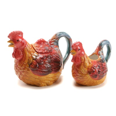 "Enesco ""Country Gate"" Rooster Ceramic Tea Pot and Creamer"